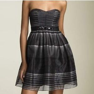 BCBG MaxAzria strapless striped beaded dress